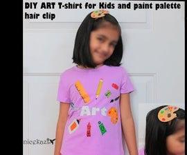 DIY Art T-shirt for Kids and Paint Palette Hair Clip