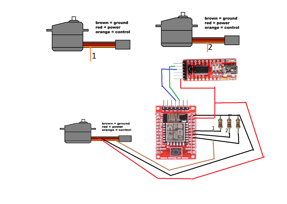 Picture of CONNECTIONS  OF  ESP8266  WITH  SERVOS  AND FTDI  BOARD  AFTER  FINAL CODE UPLOAD:-
