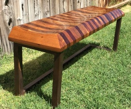 Sculpted Reclaimed Wood Bench with Steel Base