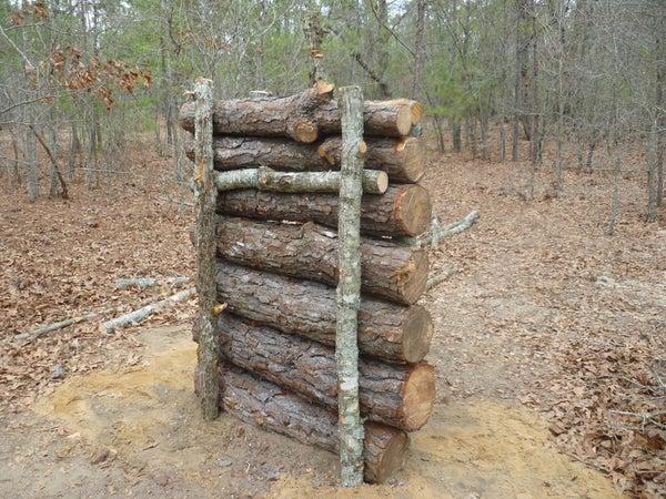 Wood Log Shooting Backstop