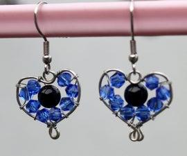 Bead Wrapped Heart Earrings Tutorial