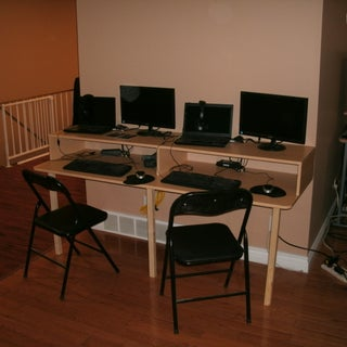 Space Saving Tripod Computer Desk for Two