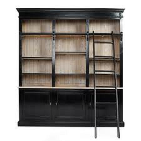 Picture of Wall of Bookshelves With a Rolling Ladder 'on the Cheap'