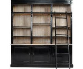 wall of bookshelves with a rolling ladder 'on the cheap'