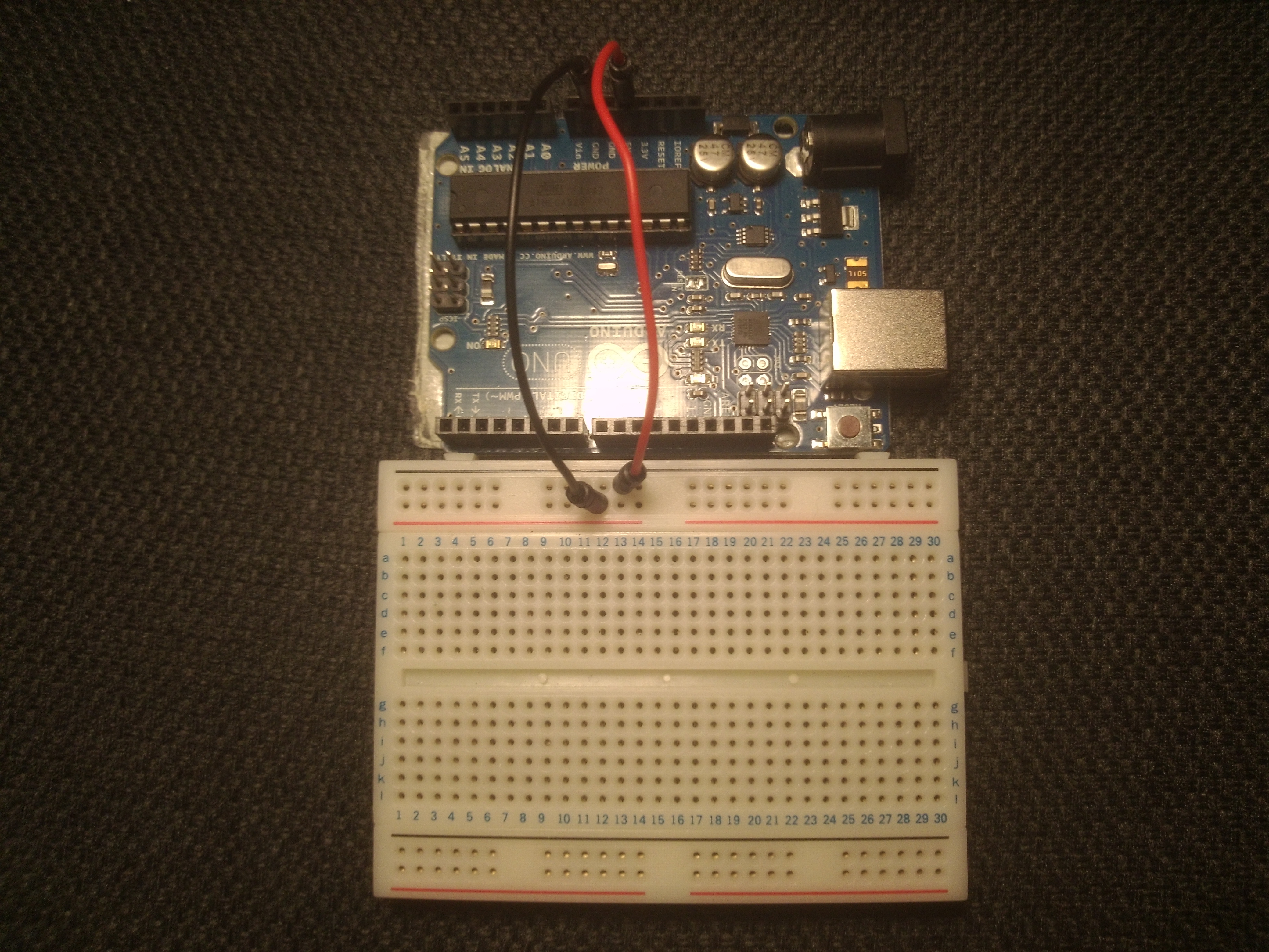 Picture of Connecting the Arduino, Breadboard and LEDs