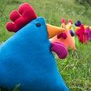 Rainbow Blue Chicken Pillow