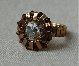 Beaded ring - Handmade ring with Swarovski crystals and Miyuki beads and seed beads