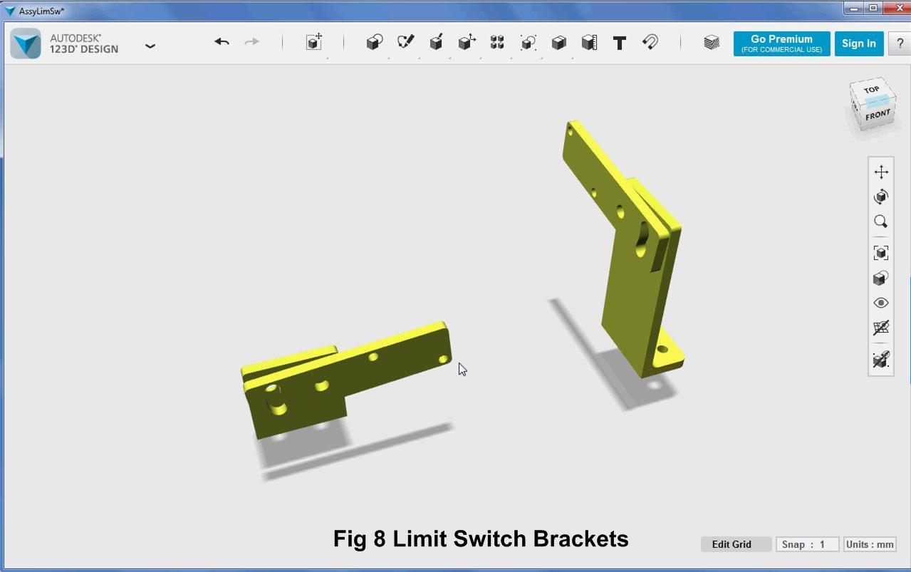 Picture of 3D Parts Design - Limit Switch Brackets