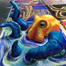 3D Octopus Sculpture Chalk Art