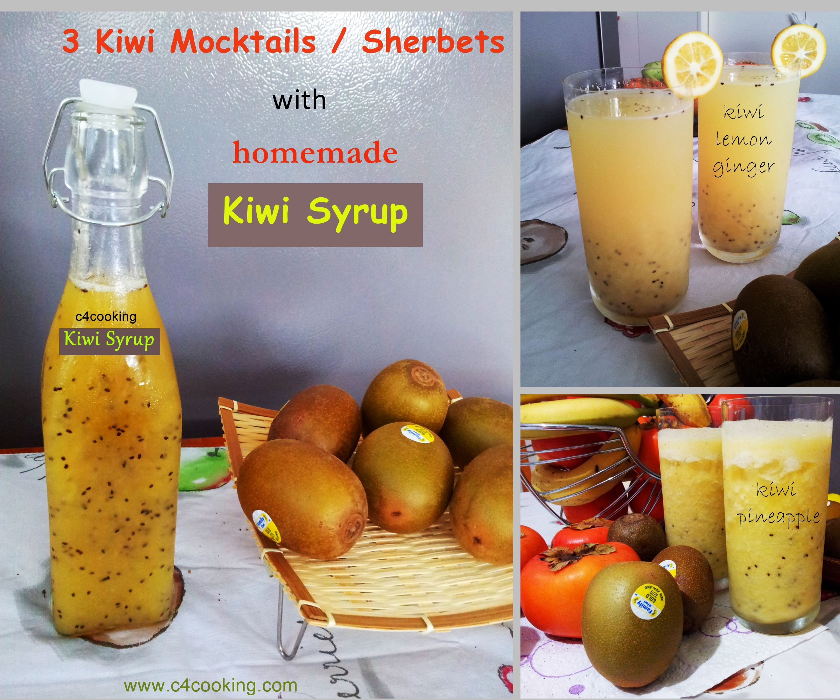 3 Refreshing Kiwi Mocktails / Sherbets With Homemade Kiwi Syrup: 3