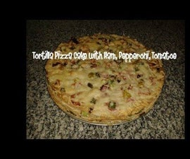 Tortilla Pizza Cake With Ham, Pepperoni, Tomatoe Recipe
