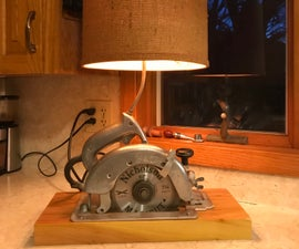 Vintage Circular Saw Table Lamp