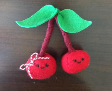 Felt Cherry Plush Keychain