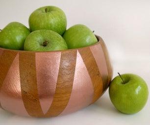 Geometric Wood & Copper Fruit Bowl