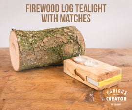 Firewood Log Tea Light With Matchbox