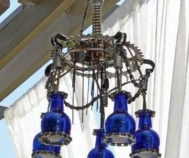 Outdoor Chandelier Lighting made with Trash and Krylon Paint