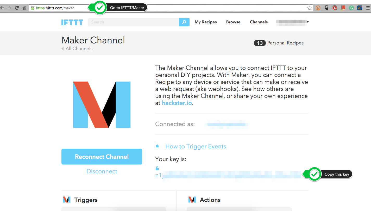 Picture of Go to IFTTT Maker Channel and Retrieve Your Key