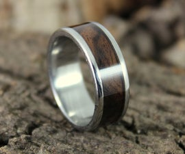 Damascus Steel Ring With Wood Inlay