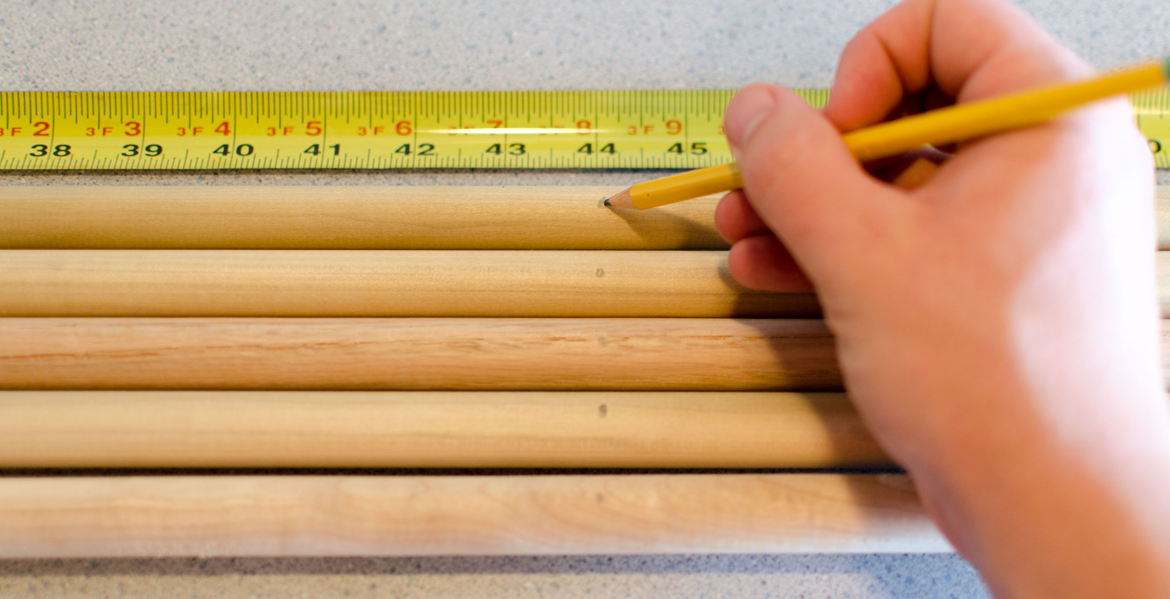 Picture of Drill a Hole in Each Dowel at 44 Inches