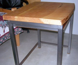 Computer Desk With Steel Tube Stand and Live Edge Wood Slab Top