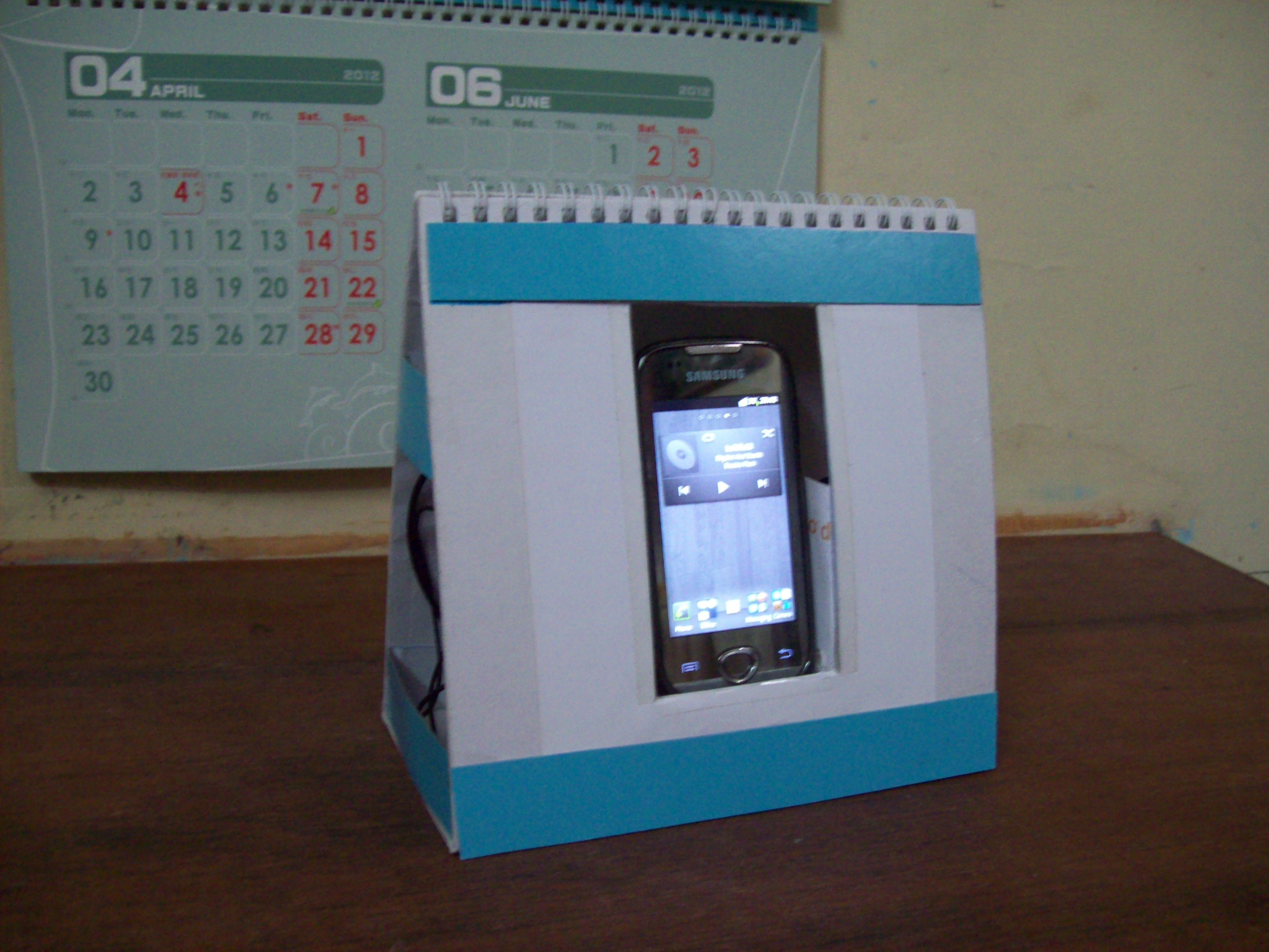 Picture of Quick Easy Cheap Phone Dock + Passive Speaker + Accessory Organizer Using Old Desktop Calendar
