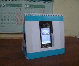 Quick Easy Cheap Phone Dock + Passive Speaker + Accessory Organizer using Old Desktop Calendar