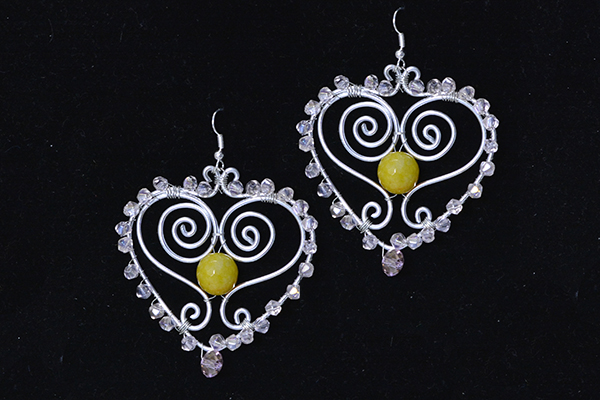 Picture of Make Another One With the Above Same Steps. Then This Pair of Wire Wrapped Heart Earrings Has Been Finished!