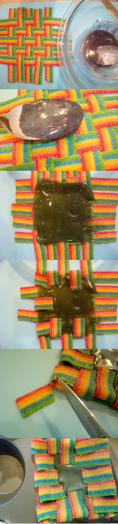 Picture of Seal the Woven Candy With the Melted Candy.