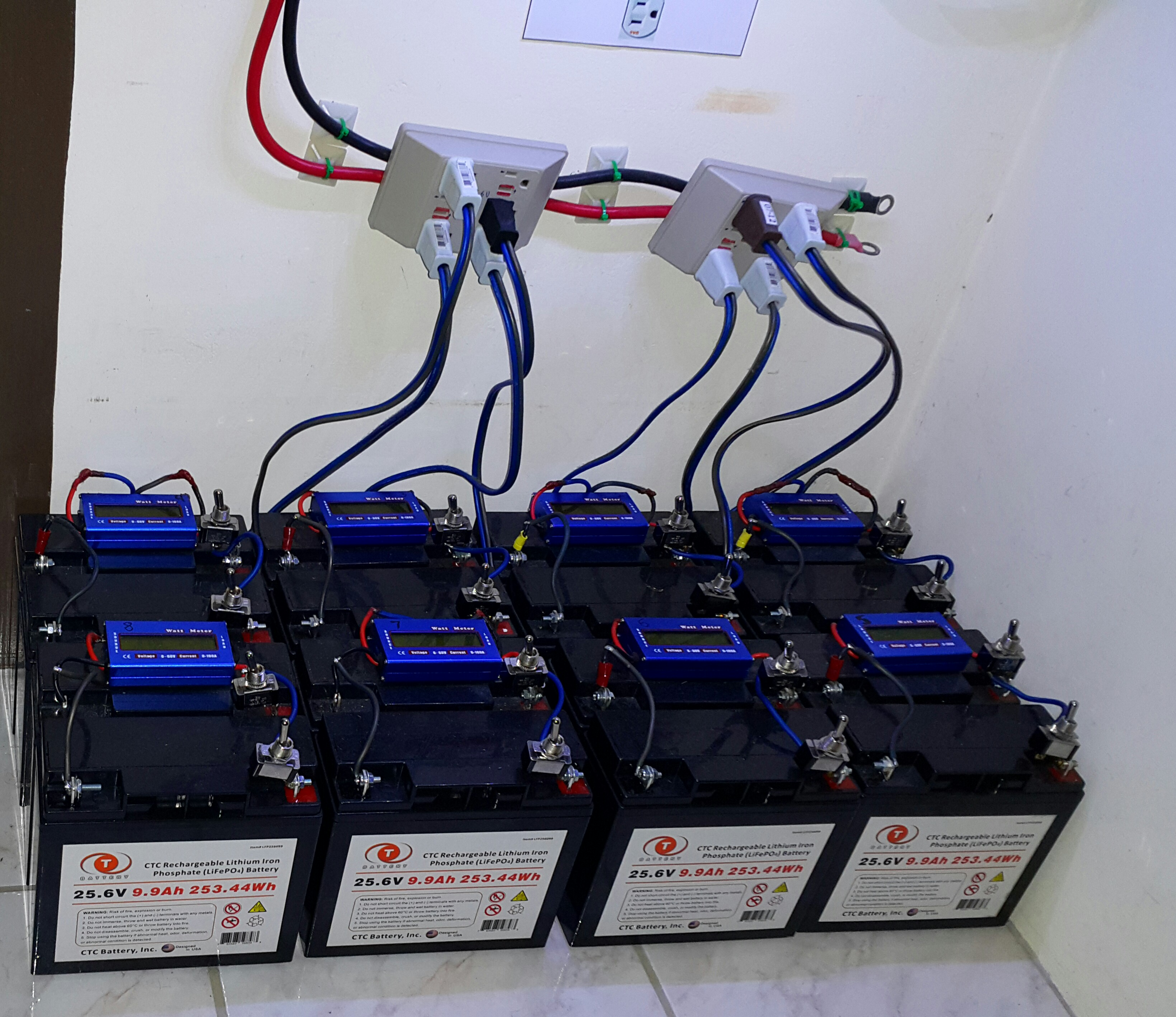 Picture of Reading My Lifepo4 Battery Bank.
