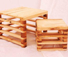 TAB, small table and stool by Samuel Bernier