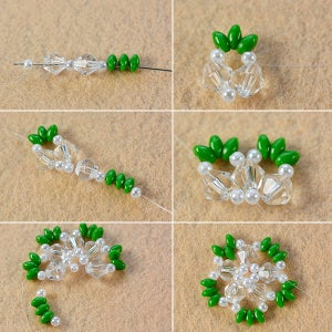 Make the First Part of the 2-hole Seed Bead and Pearl Star Earrings