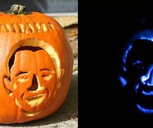 The Barack O Lantern- Pumpkin Powered Political Statement (With LEDs)