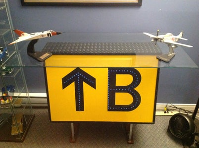 Airport Runway Sign Shelf Upcycle With Fiber Optic/LED Lighting