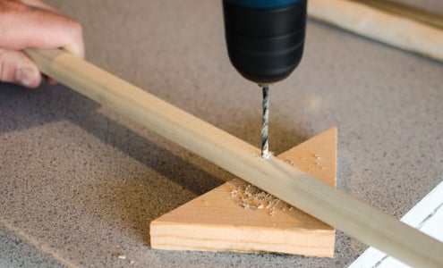 Drill a Hole in Each Dowel at 44 Inches
