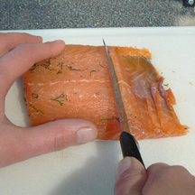 Picture of Cutting the Salmon Into Slices