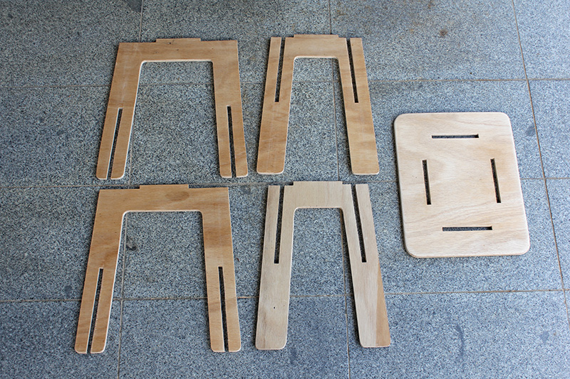 Picture of Cutting Out the Pieces of the Stool