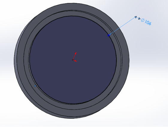 """Picture of Sketch a 106mm Diameter Circle on the Front Plane and """"Extrude Cut"""" for 4mm Downward"""