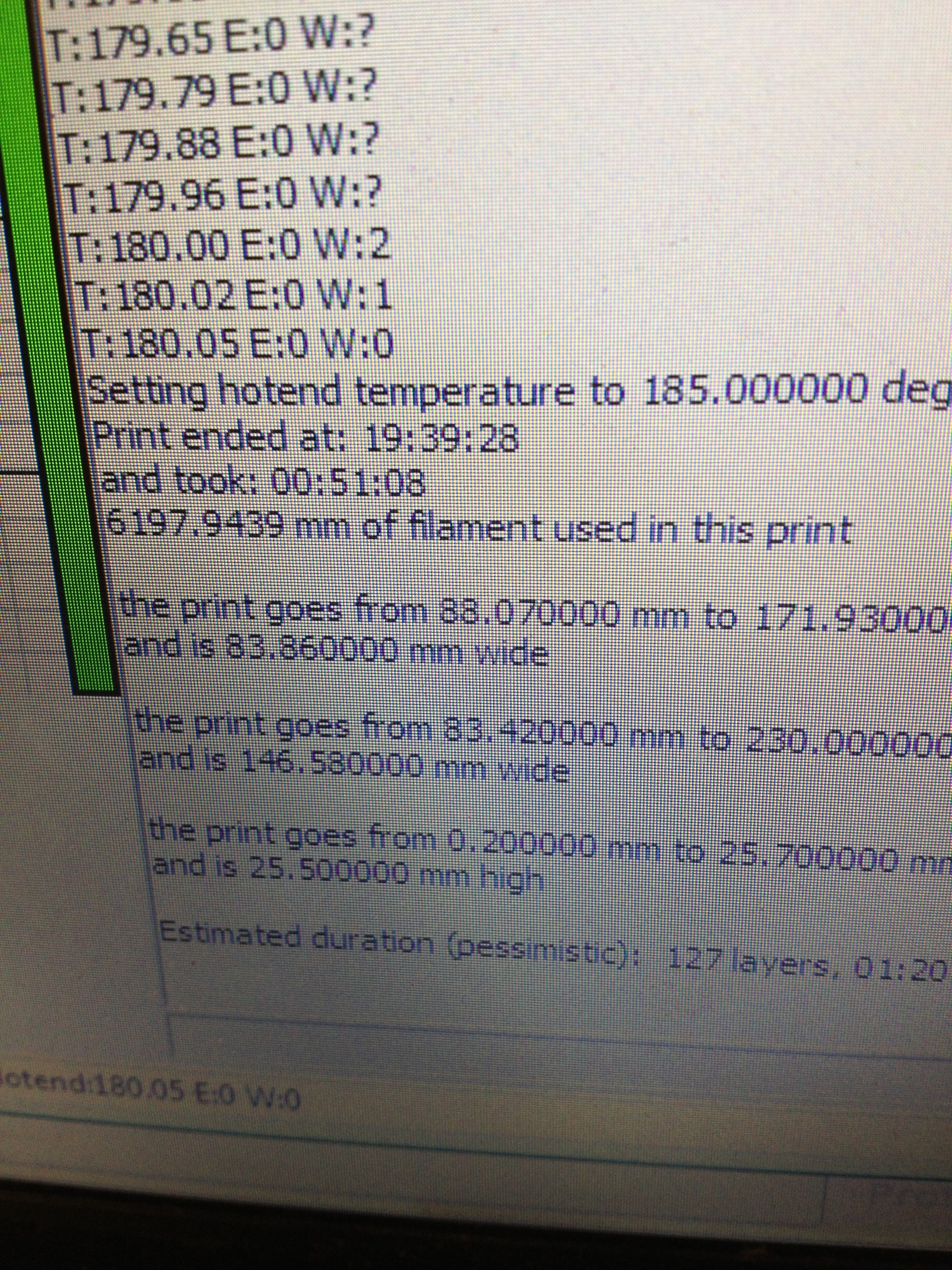 Picture of Print Time and Print Control Software Feedback