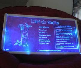 Mojito recipe in Plexiglass blue lighting