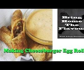 Making Cheese Burger Egg Rolls