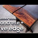 Outdoor Dining Table | Concrete and Live Edge