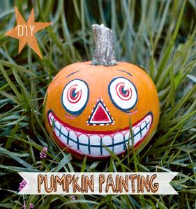 DIY Vintage Inspired Painted Pumpkin for Halloween!