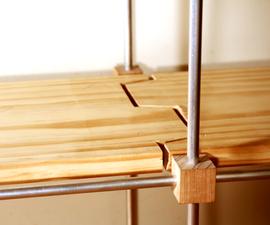 """Aluminum and Wood """"puzzle"""" Modular Shelf"""