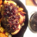 ROAST PORK LOIN WITH APPLE BOURBON CRANBERRY SAUCE
