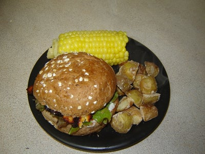 Portobello Mushroom With Grilled Feta Burger
