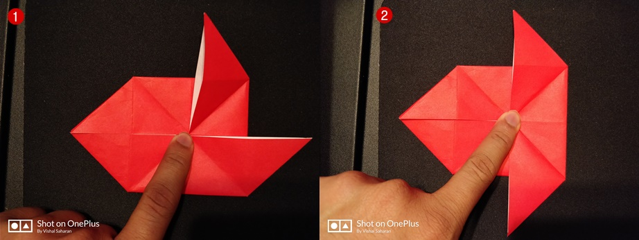 Picture of Fold the Top Right and Bottom Right  Along the Diagonal Line.
