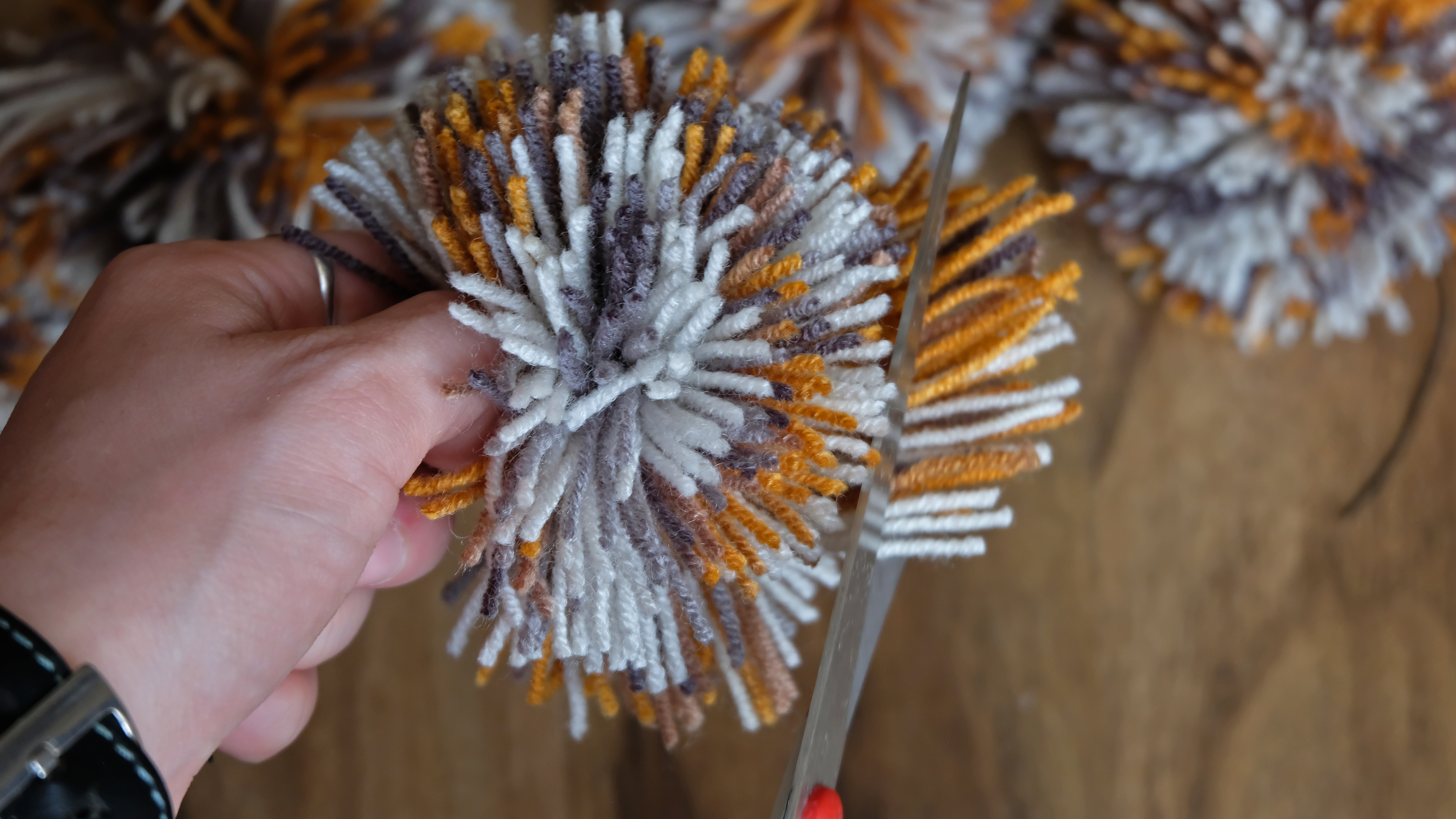 Picture of Making Pompoms. Trimming