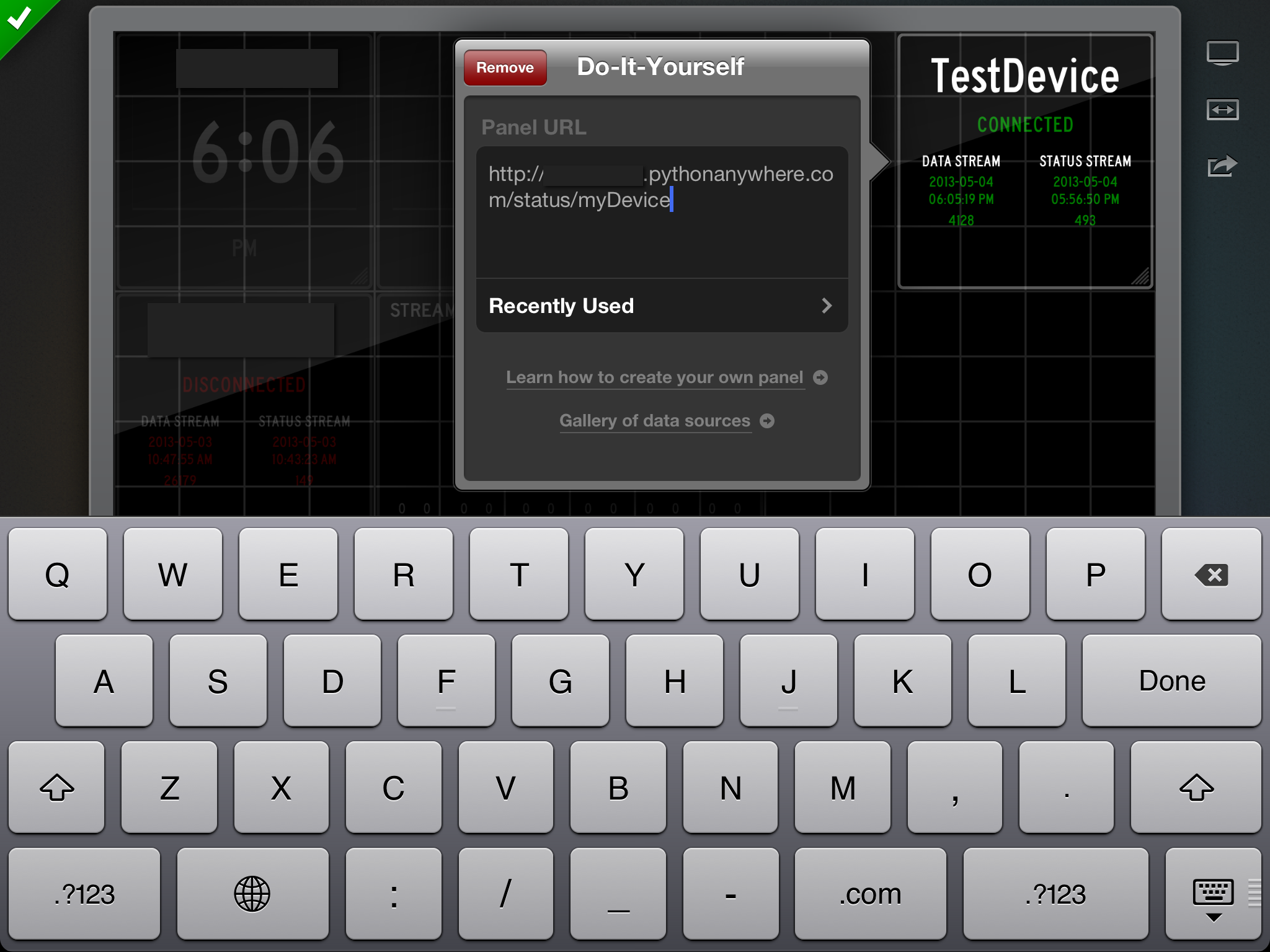 Picture of Configure Status Board With Your Widget and Warp Up.