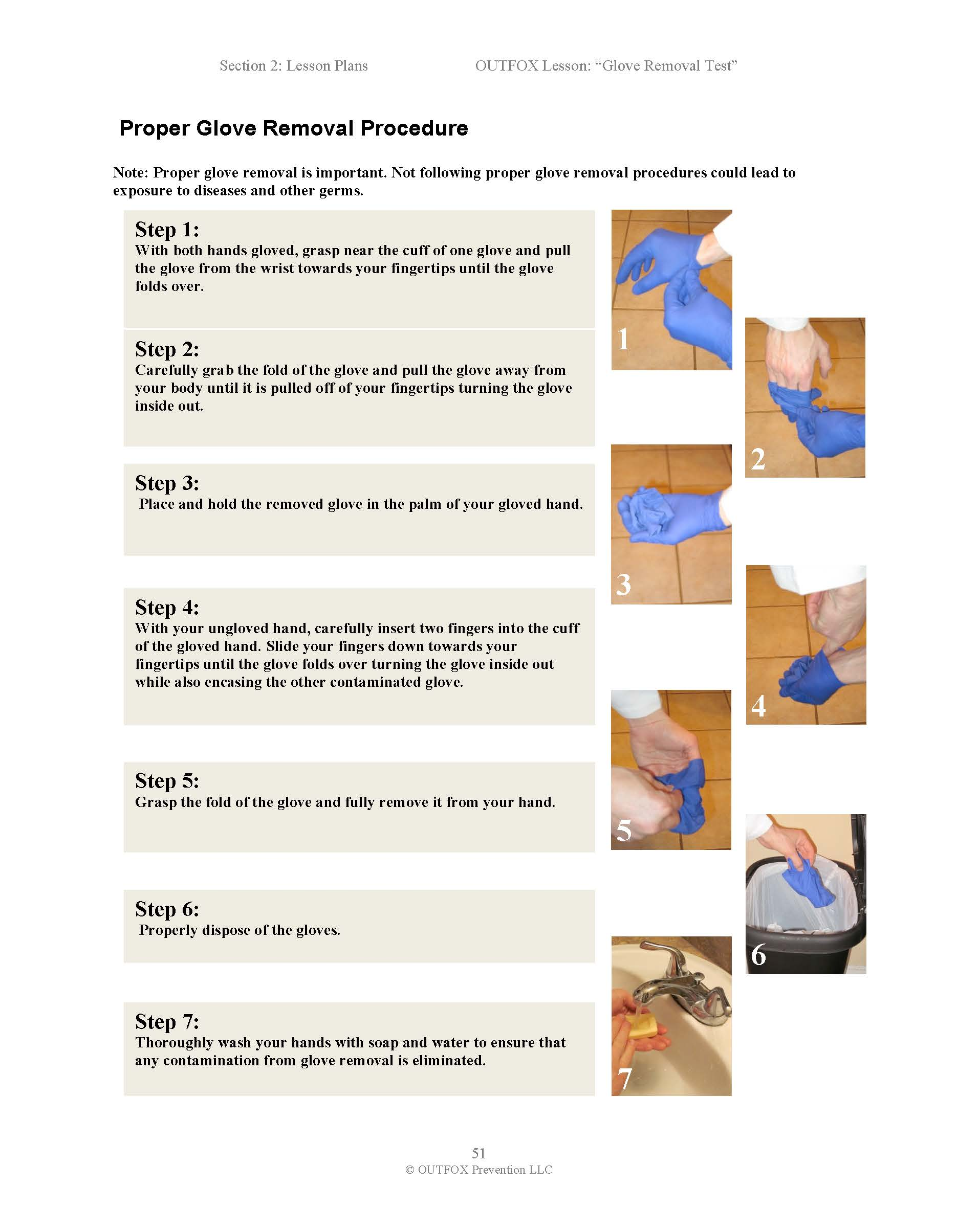 Picture of Download the Glove Removal Sheet