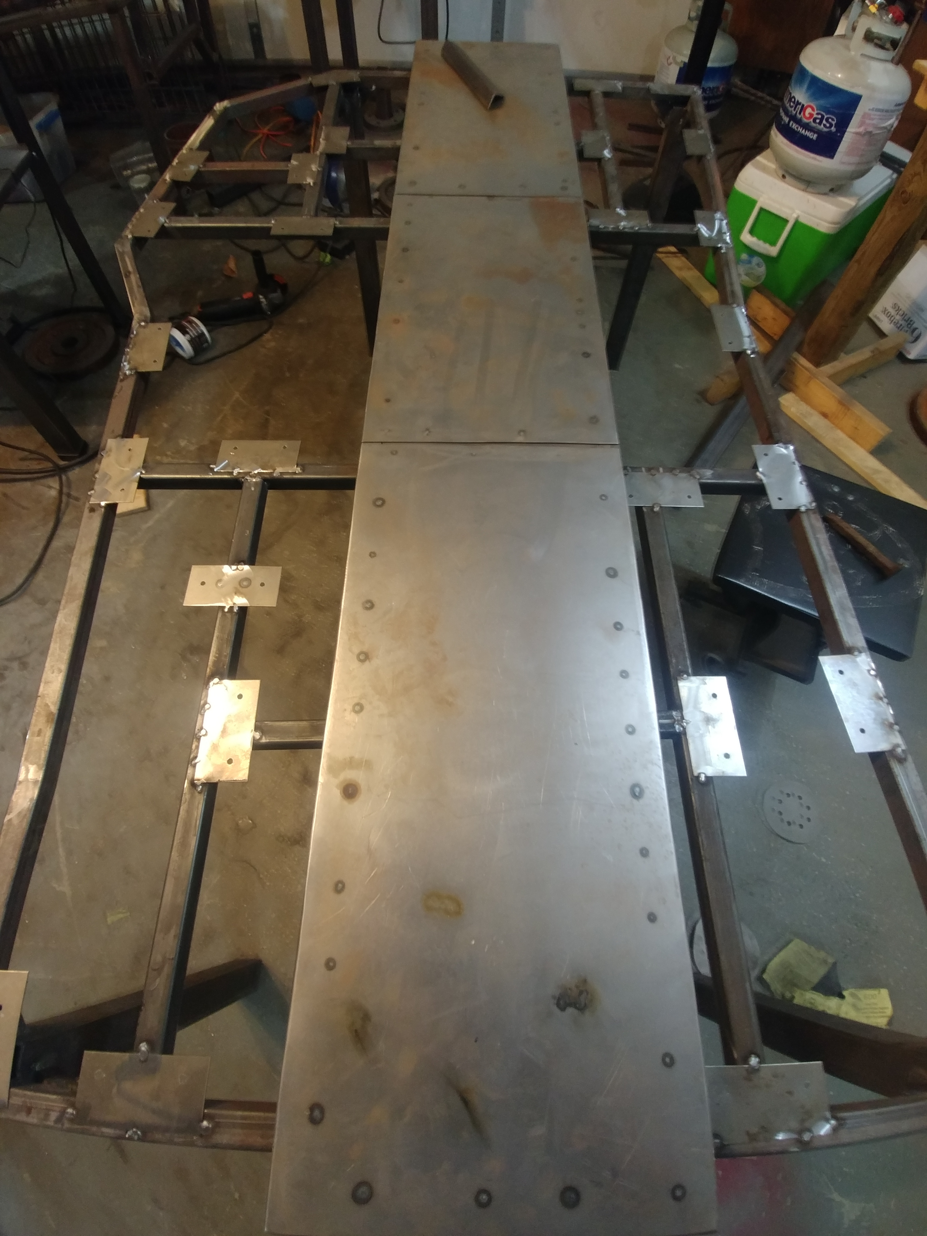 Picture of Placement of Mounting Plates and Risers for Center Piece